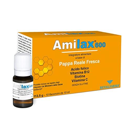 Amilax 600 - Integratore Alimentare A Base Di Pappa Reale Fresca, Acido Folico, Vitamina C - 10 Flaconcini Da 10 ml
