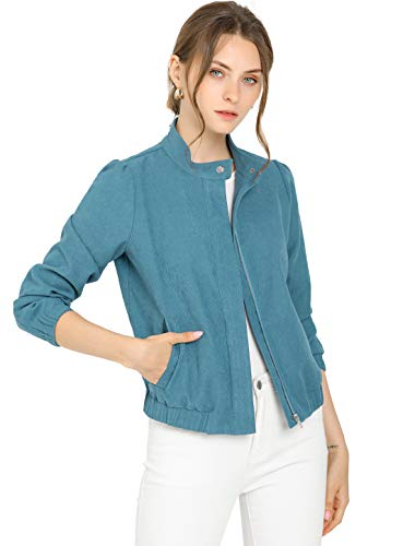 Allegra K Women's Faux Suede Snap Stand Collar Zip Up Bomber Biker Jacket X-Small Teal Blue