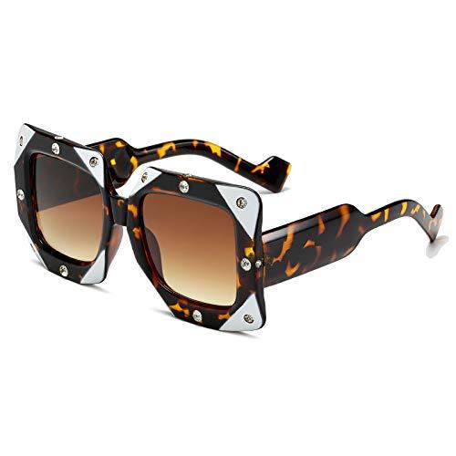 Gafas de sol cuadradas de diamantes para mujer 2021, marca de lujo, punk, rosa, negro, blanco, grande, para mujer, (color: C2 carey, marco)