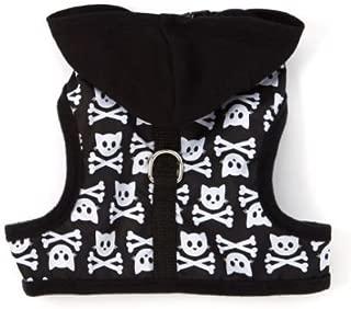 SimplyShe Black Kitty Skull Hoodie 5-10lb Cat Harness w/ D-Ring