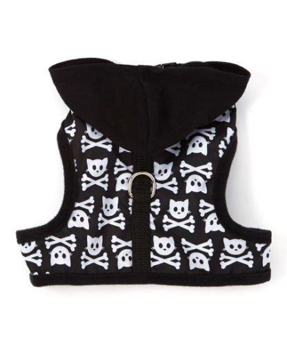 SimplyShe Black Kitty Skull Hoodie 5-10lb Cat Harness w/D-Ring