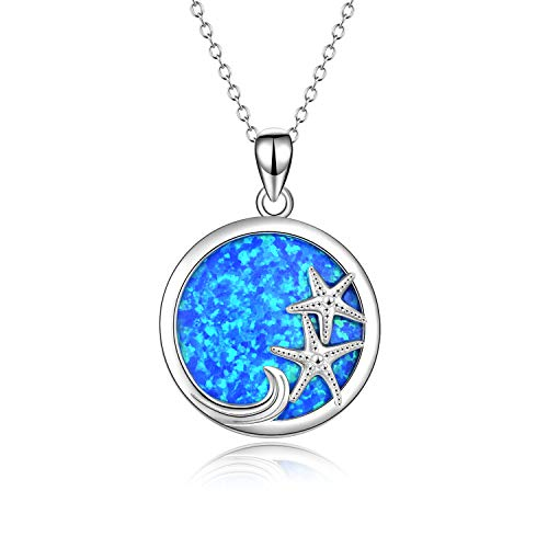 YFN Sterling Silver Ocean Jewelry Starfish Wave Necklace Blue Opal Pendant for Women Jewelry Gifts