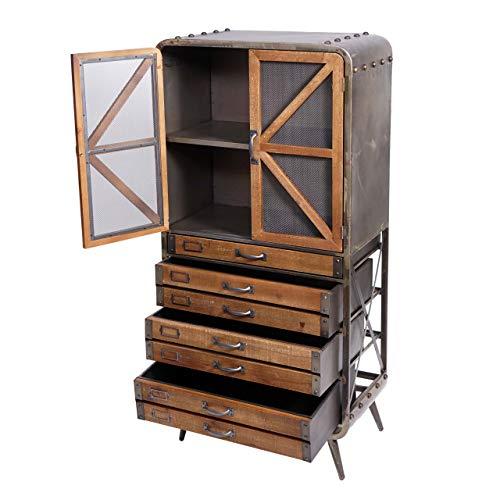 Mendler Hochschrank HWC-F91, Apothekerschrank Wohnzimmerschrank, Industrial Tanne Holz Metall 128x60x33cm, braun-schwarz