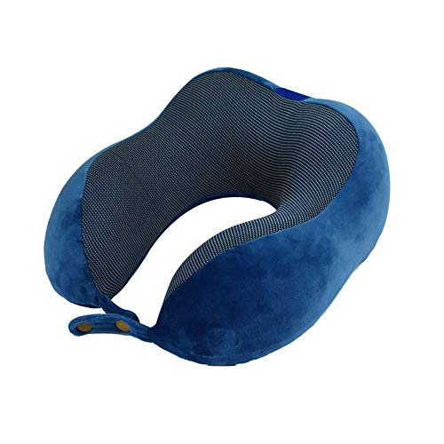 GJHT Household U-shaped Pillow Travel Neck Support Pillow Portable U-shaped Neck Support Cushion Blue Suitable for Travel and Office Use
