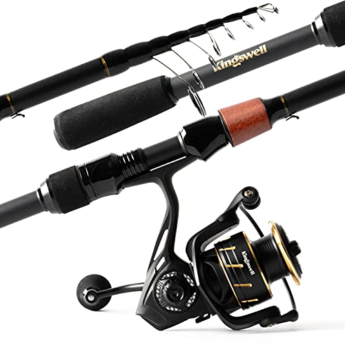 KINGSWELL Fishing Rod and Reel Combo, Graphite Carbon Telescopic Fishing Pole with Spinning Reel, Fresh Water Travel kit for Adults Kids, 6.8ft Medium Heavy (6.80)