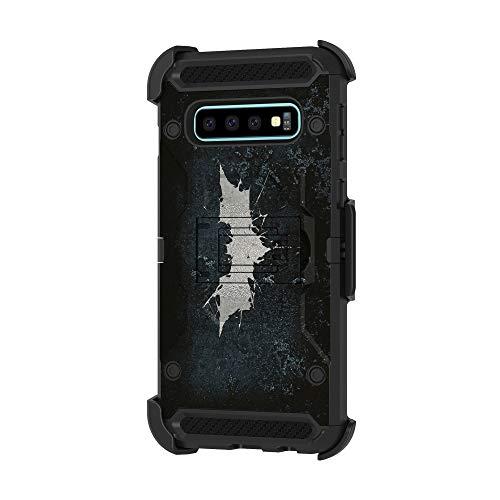 TurtleArmor Schutzhülle für Samsung Galaxy S10, S10, G973 [Armor Pro] Ganzkörperschutz, Armor Hybrid-Standfunktion, robuste Schutzhülle mit Gürtelclip, Bat Signal