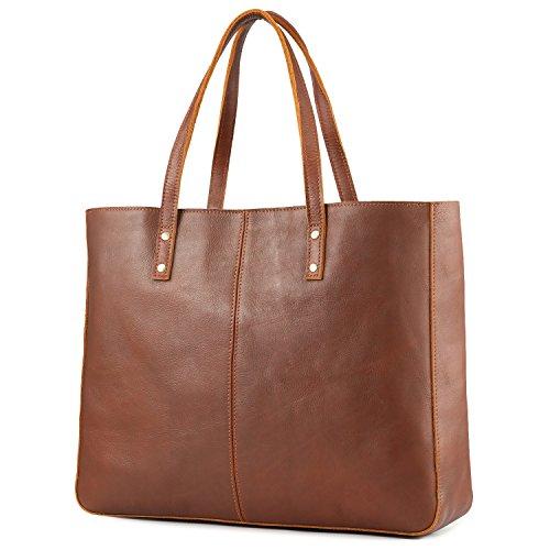 Kattee Leather Purses and Handbags for Women Vintage Tote Bags Work Purse Shoulder Bag- Brown