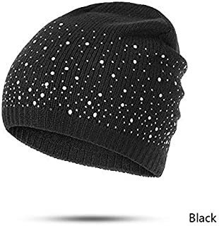MZHHAOAN Winter Autumn Beanie Hats Women Soft Knitting Skullies Beanies hat Female Fashion Rhinestone Cotton hat Cap