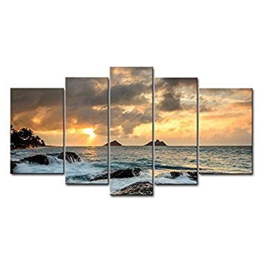 Blue 5 Piece Wall Art Painting Sunrise At Lanikai Point Hawaii White Wave Pictures Prints On Canvas Seascape The Picture Decor Oil For Home Modern Decoration Print For Kids Room