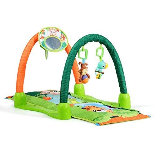 COSTWAY Spieldecke multifunktional, Rainforest Erlebnisdecke, Baby Gym umwandelbar, Krabbeldecke mit Spielbogen und Spiegel, Krabbeltunnel für Babys ab 0 Monaten