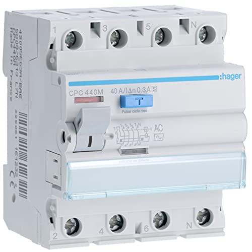 Interruptor diferencial tipo B 4P 25A 300mA, para protección de líneas, bienes, personas y equipos, color blanco, 5 x 10 x 10 centímetros (referencia: Hager CFB425E)