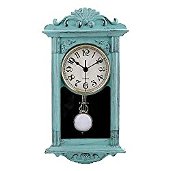 jomparis 16 Pendulum Wall Clock Retro Quartz Decorative Battery Operated Wall Clock for Home Kitchen Living Room (Seafoam Green)
