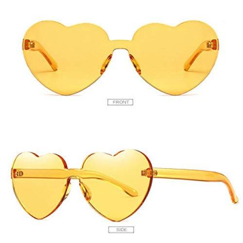 Gafas de Sol One Piece Love Heart Lens Gafas de Sol Mujeres Gafas de plástico Transparentes Estilo Gafas de Sol Mujer Clear Candy Color Designer C2