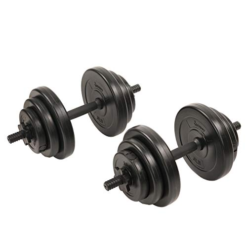 Sunny Health & Fitness Exercise Vinyl 40 Lb Dumbbell Set Hand Weights for Strength Training, Weight Loss, Workout Bench, Gym Equipment, and Home Workouts