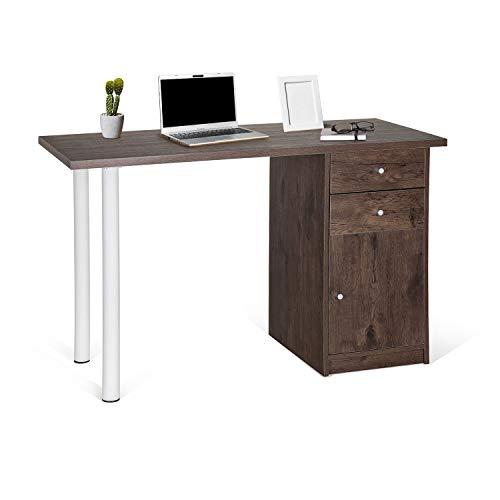 hjh OFFICE 634750 Schreibtisch Easy Work III 120 x 50 cm Holz Walnuss/Weiß Computertisch mit Schubladen und Schrank