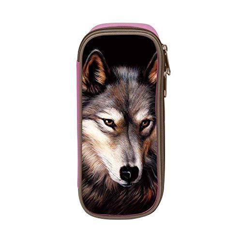 Lawenp Kids Wolf Face Estuche de lápices suave de gran capacidad con cremallera para niños y niñas Rosa