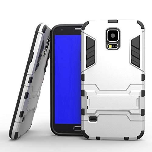Sangrl Funda para Samsung Galaxy S5 i9600 / S5 Neo, Robusto y Durable Bumper Híbrida Resistente 2 en 1 Armadura Protectora Armadura Arañazos Cover Anti Caída Case - Plata