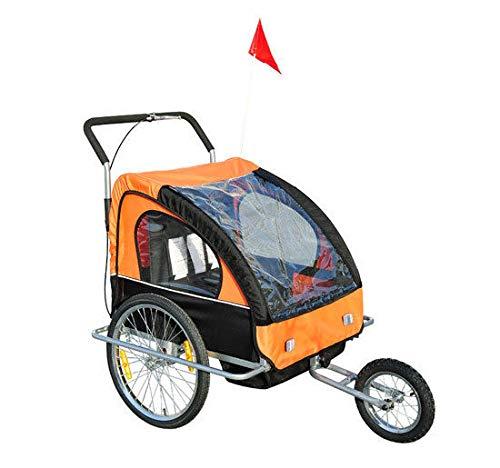 HOMCOM 2 in 1 Jogger Kinderanhänger Fahrradanhänger Kinder Radanhänger mit Fahne Rot-Schwarz (Orange-schwarz)