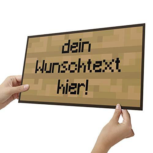 Elbeffekt Holzschild personalisierbares Geschenk für Jungen - Bilder Kinderzimmer Jungen Bild Pixel Art - schenke individuell aus Echtholz