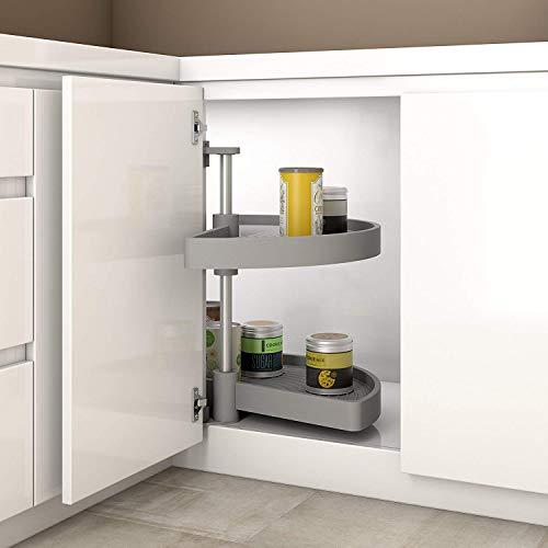 Gedotec Halbkreis-Schwenkbeschlag Küche Drehbeschlag mit Tablarboden für Eckschrank | Drehteller für Unter-Schrank | 900 x 550 mm | MADE IN GERMANY | 1 Komplett-Set mit Schwenk-Böden aus Polyamid