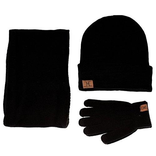 TMEOG Wintermütze Herren Mütze Schal Handschuh-Sets, Touchscreen Handschuhe Beanie Warme Mütze Strickmütze Winterschal Herren mit Fleecefutter (Schwarz)