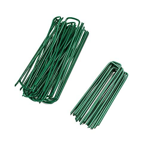 BECHOICEN Feste Rasen-Heringe für Netze, robust und korrosionsbeständig, U-förmige Nagelstifte für Unkraut-Zelt-Heringe, Metall für Kunstrasen, grüne Farbe, 100 Stück