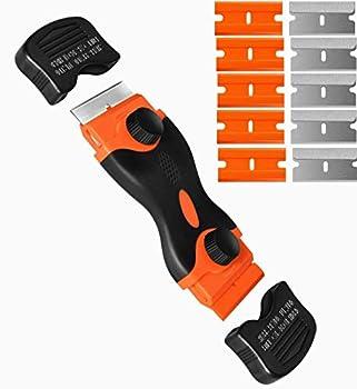 Razor Blade Scraper Double Edge Window Scraper Tool with 10 Razor Blades Glass Scraper for Removing Sticker Glass Stove Top Label Grease from Windshield