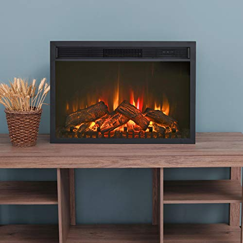 LOKATSE HOME 28 Inches Electric Fireplace Insert Heater Log with Realistic Flame Remote Control, Over-heating Protection, Three-speed adjustment 700/1000/1400W, Black electric Fireplace recessed