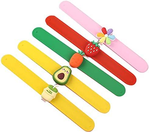 6-Pack Silicone Slap Bracelets,Cute Mermaid Rainbow Flowers Fruit Animal Theme Party Favors, Charm Rubber Snap Set for Girls Boys Children (Fruit Series)