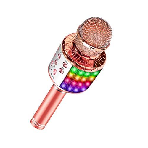 Trådlös Bluetooth Karaokemikrofon med flerfärgade LED-lampor, 4-i-1 bärbar handhållen karaoke-maskin mikrofon för barn vuxna, för Android/iPhone/PC Rosa guld