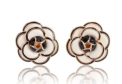 Fashion jewelry designer statement elegant camellia enamel flower rose earrings studs for women (Classic White)