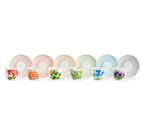 Excelsa Floral Servicio Tazas de café con plato, multicolor