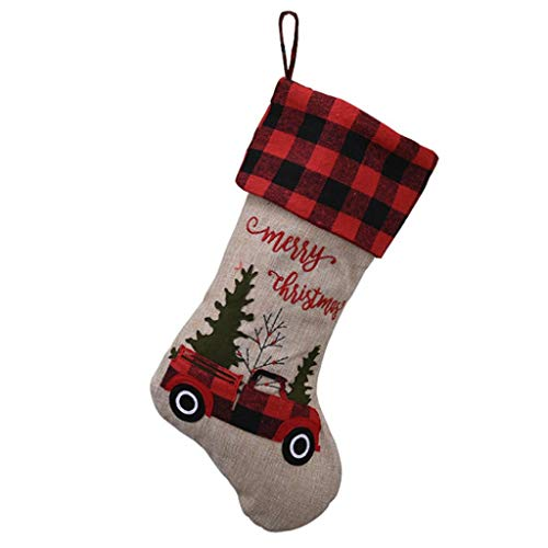 Christmas Stocking Christmas Socks Home Christmas Tree Socks Decoration Christmas Stocking Candy Bag Ornament Red and Black Plaid Car Fabric Gift Bag (Color : Beige, Size : 2346cm)