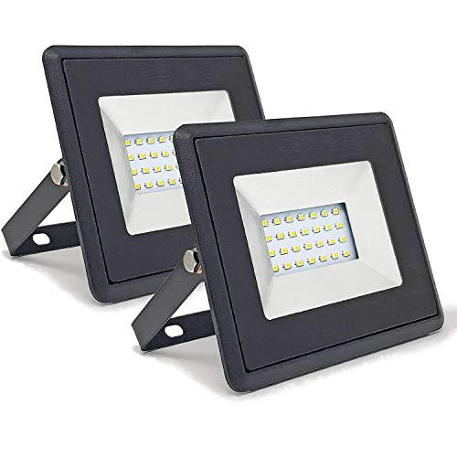 2-er Pack - ZONE LED SET - 20W - LED Strahler, LED Fluter - Tageslicht (4000K) - 1700 Lm - Entspricht 100W - Abstrahlwinkel 110° - Schwarzer Körper