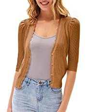 GRACE KARIN Women's Sweater Cropped Cardigan Knit Shrugs for Dresses Tops Button Down Lightweight Soft
