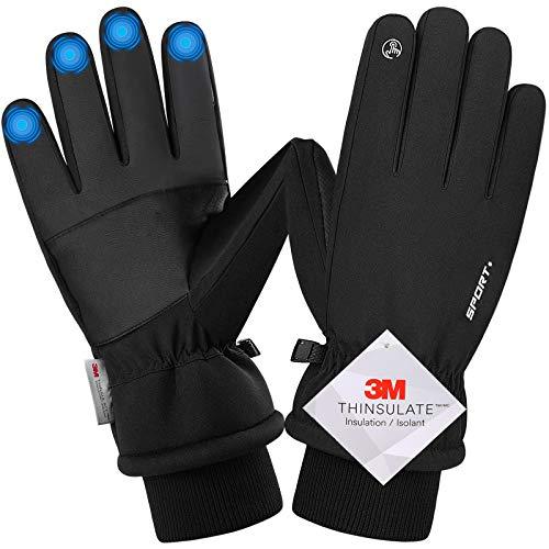 Songwin wasserdichte Winterhandschuhe, 3M Thinsulate Warme Touchscreen Handschuhe für Herren und Damen, Fahrradhandschuhe für Reiten Laufen Skifahren Wandern Radfahren (L)