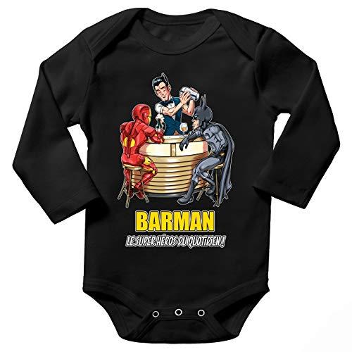 Body bébé Manches Longues Noir Parodie MCU - Justice League - Iron Man et Batman et.Barman - Barman, Le Super Héros du Quotidien ! (Body bébé de qualité supérieure de Taille 9 Mois - imprimé en FR