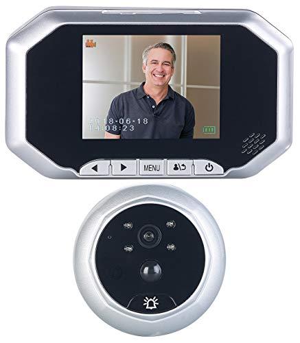 Somikon Türklingel mit Kamera: Digitale Türspion-Kamera mit 8,9-cm-Display, PIR, Aufnahme, Nachtsicht (Türklingeln)