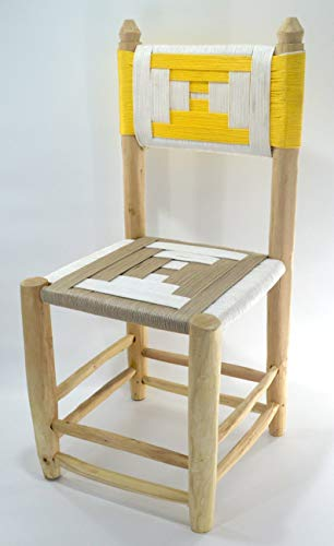 Moroccan craft dining chair from wicker and braided white, beige and yellow rope and natural laurel wood - Seat W40 L40 H 43 cm Back 90 cm