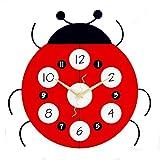 Reloj de pared silencioso,reloj de pared sin tic-tac de Ladybug de 30 cm,funciona con pilas y movimiento de cuarzo de barrido,reloj de madera para niños,sala de estar,dormitorio,cocina,escuela,oficina