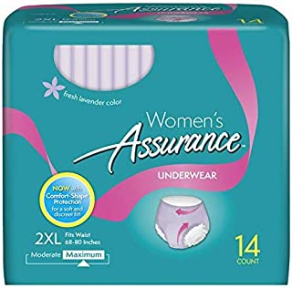14 Count (1 Package) Plus Size, XXL Incontinence Underwear for Women, Maximum, 2XL Lavender Color