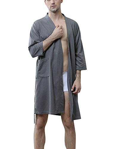 DianShaoA Albornoz para Hombre Y Mujer Kimono Batas Cortos Lencería De Aspecto Brillante SPA Hotel Sauna Robe M Gris XL