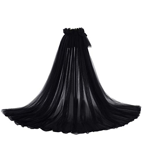 """Detachable Train 5-Layer Tulle Overlay Train Detachable Wedding Train Only Length 63"""" Free Size Black"""