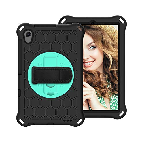 SZCINSEN for Huawei MediaPad M5 Lite 8.0' Shockproof Tablet Kids Case,with Rotating Stand,Rugged Duty,Stand and Shoulder Strap,Handle (Color : Black+Aqua)