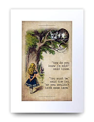 HWC Trading Alice im Wunderland Grinsekatze Geschenke zur Dekoration Ihres Neugeborenen Babyzimmers – A4