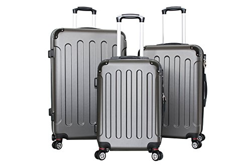 Set di tre Trolley Almatà 4 ruote gemellari con chiusura a combinazione e bagaglio a mano misure IATA (accettata da tutte le compagnie) Dark Grey