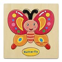 YEEZEELTeka-teki 3D Kayu Mainan Kayu Untuk Kanak-kanak Kartun Teka-teki Haiwan Kanak-kanak Mainan Pendidikan Mainan bayi (Orange)