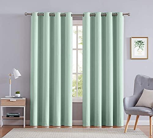 "Treatmentex 84"" Curtains for Bedroom Chevron Light Green Half Light Blocking Window Curtain Drapes for Living Room 2 Pack Grommet Top"