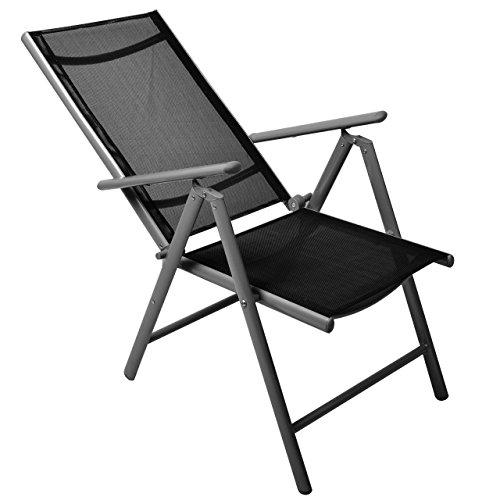 Nexos 4-er Set Stuhl, Klappstuhl, Gartenstuhl, Hochlehner für Terrasse, Balkon, Camping Festival, aus Aluminium verstellbar leicht, stabil, schwarz - 3