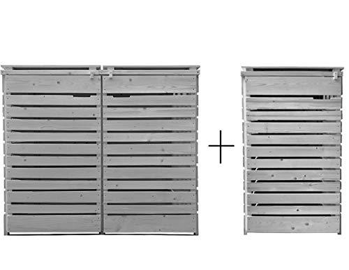 Fairpreis-design Mülltonnenbox Mülltonnenverkleidung 3 Tonnen Holz 120L - 240L hell-grau inkl. Rückwand vorimprägniert vormontiert Müllcontainer Mülltonne Mod.H